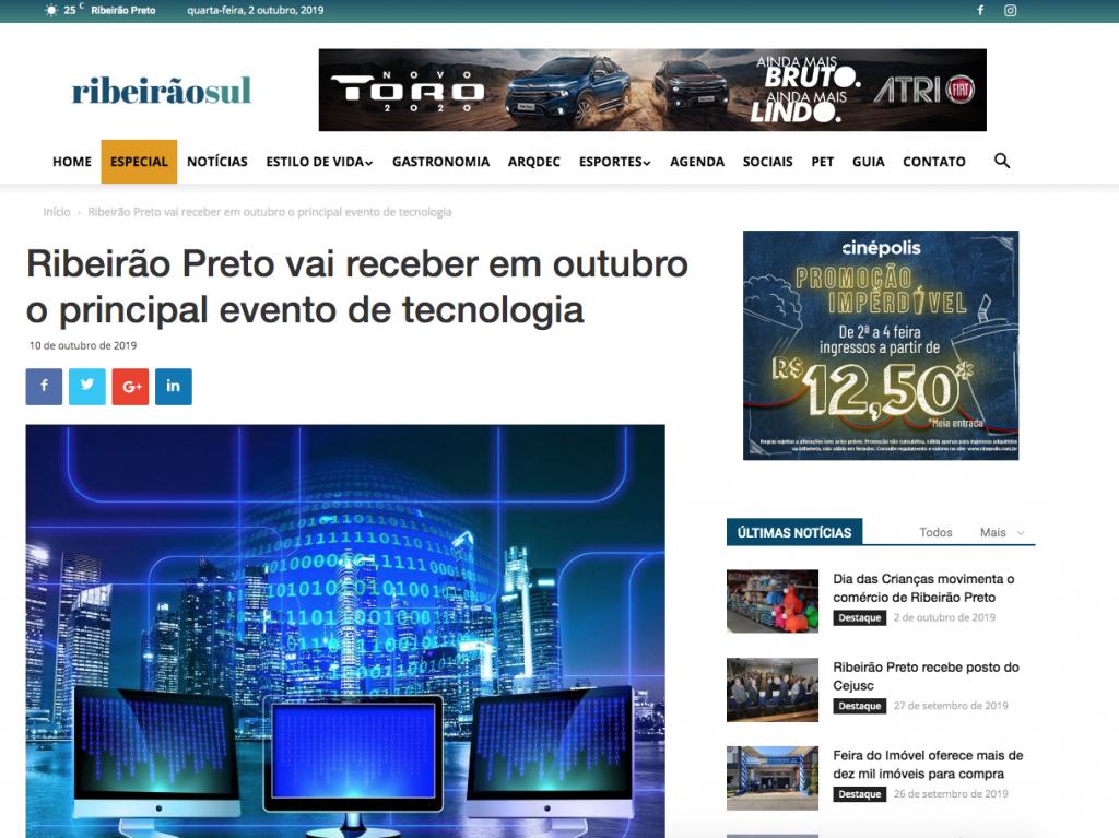 """Matéria sobre o congresso rti de data centers está na categoria """"Especial"""" no dia 10 de outubro, jornal online Ribeirão Sul"""